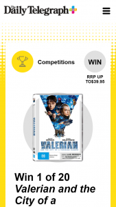 Plusrewards – Win 1 of 20 Valerian and The City of a Thousand Planets DVD's (prize valued at $799)