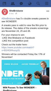 SheBrisbane – Win One of Five Double Passes to See Wonder Special Advance Screenings