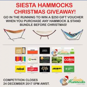 Siesta Hammocks buy a hammock to – Win a $250 Gift Voucher for Awesome Retailers Such As Jb Hifi (prize valued at $250)