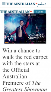 The Australian plusrewards – Win a Chance to Walk The Red Carpet With The Stars at The Official Australian Premiere of The Greatest Showman (prize valued at $16,650)