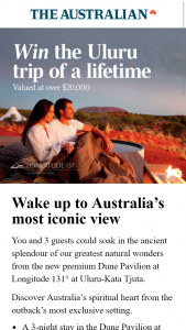 The Australian – Win The Prize (prize valued at $25,260)