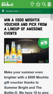 The Bottle-O – Win a $500 MoshTicket Voucher and Pick From a Lineup of Awesome Events