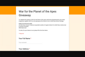 War for the Planet of the Apes Giveaway – Win a Gold Class Movie Package (prize valued at $2,000)