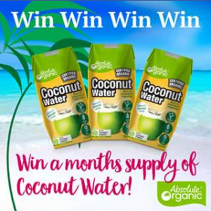 Win a Months Supply of Absolute Organic Coconut Water