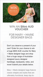 Win an $800 Aud Voucher (prize valued at $800)
