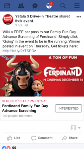 Yatala 3 Drive-in – Win a Free Car Pass to Our Family Fun Day Advance Screening of Ferdinand