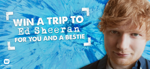 Werner Music Australia – Ed Sheeran Fly Away 2018 – Win a travel prize package for 2 to Sydney plus 2 A Reserve tickets to see Ed Sheeran