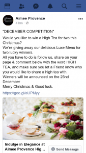 Aimee Provence – Win a High Tea for Two this Christmas&#8232we're Giving Away Our Delicious Luxe Menu for Two Lucky Winners