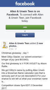 Allen & Unwin Teen Christmas book giveaways – Win The Daily Book Giveaway and Don't Forget That on Christmas Eve One Lucky Person Will Win The Whole Snowman (all 24 Books).