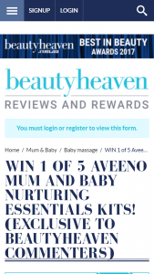 Beauty Heaven – Win 1 of 5 Aveeno Mum and Baby Nurturing Essentials Kits