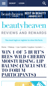 Beauty Heaven – Win 1 of 5 Burt's Bees Wild Cherry Moisturising Lip Balms