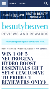 Beauty Heaven – Win 1 of 5 Neutrogena Hydro Boost Essentials Gift Sets