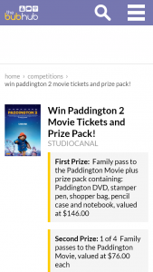 BubHubWin Paddington 2 Movie Tickets and Prize Pack – Win Paddington 2 Movie Tickets and Prize Pack (prize valued at $146)