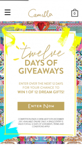 Camilla – Win 1 of 12 Daily Prizes (prize valued at $6,809)