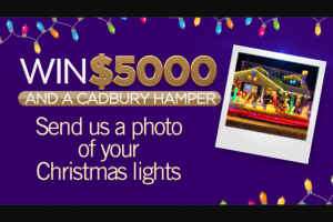 Channel 7 – Sunrise – Win $5000 and a Cadbury Hamper (prize valued at $25,500)