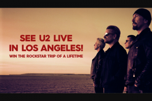 Channel 9 – Today Show See U2 Live in Los Angeles – Win a Trip for Two (2) Adults to Los Angeles Usa Valued at Up to Aud$7860 Depending on Date and Point of Departure (prize valued at $7,860)