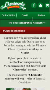Cheese cake shop – Win The Ultimate Cheer Experience Worth Up to $1000 (prize valued at $1,000)
