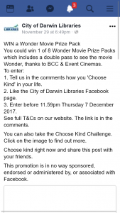 City of Darwin Library – Win a Wonder Movie Prize Pack