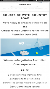 Country Road – Win an Unforgettable Australian Open Experience (prize valued at $6,965)