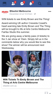 EllasList – Win Tickets to See Emily Brown and The Thing