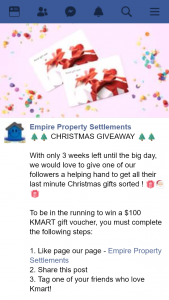 Empire Property Settlements – Win a $100 Kmart Gift Voucher (prize valued at $100)