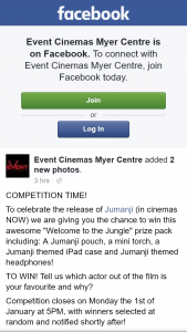 "Event Cinemas Myer Centre – Win this Awesome ""welcome to The Jungle"" Prize Pack Including"