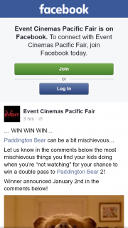 Event Cinemas Pacific Fair – Win a Double Pass to Paddington Bear 2