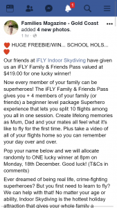 Families magazine Gold Coast – Win Ifly Indoor Skydiving Family & Friends Pass (prize valued at $419)