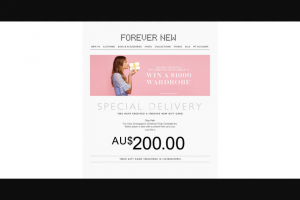 Forever New – Win a $1000 Wardrobe (prize valued at $1,000)