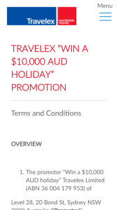 "$500 in international currency – ""win a $10000 Aud Holiday"" Promotion (prize valued at $10,000)"