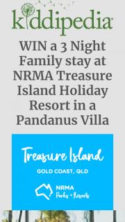 Kiddipedia – Win a 3 Night Family Stay at Nrma Treasure Island Holiday Resort