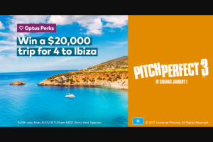 Optus Perks – Win a $20000 Trip for 4 to Ibiza (prize valued at $400)