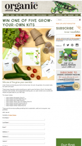 Organic Gardener – Win One of Five Grow-Your-Own Kits (prize valued at $24.95)