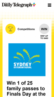 Plus Rewards – Win 1 of 25 Family Passes to Finals Day at The Sydney International (prize valued at $12,000)