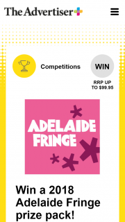 Plusrewards – Win a 2018 Adelaide Fringe Prize Pack (prize valued at $99.95)