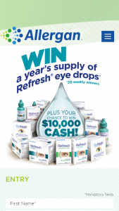 Refresh Eye drops – Win $10000 Program Online at Refresh10k and Enter The Required Information Including Name