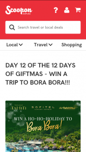 Scoopon – Win a Trip for 2 to Bora Bora (prize valued at $9,710)