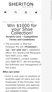 Sheriton Shoes – Win $1000 for Your Shoe Collection (prize valued at $1,000)