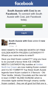 South Aussie With Cosi – Win $50 Worth of Free Golden North Frozen Custard??
