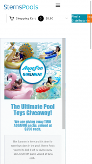 Stern Pools – Win One of Two Aquafun Prize Packs (prize valued at $250)
