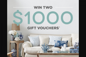 Temple and Webster – 'win Two $1000 Gift Vouchers' Competition (prize valued at $2,000)