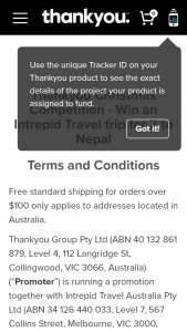 Thankyou products – Win an Intrepid Travel Trip for 2 to Nepal (prize valued at $6,000)