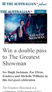 The Australian plusrewards – Win a Double Pass to The Greatest Showman (prize valued at $8,400)