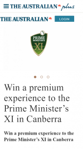 The Australian plusrewards – Win a Premium Experience to The Prime Minister's Xi In Canberra (prize valued at $1,000)