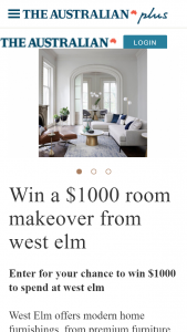 The Australian plusrewards – Win $1000 to Spend at West Elm (prize valued at $1,000)