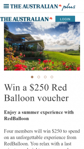 The Australian plusrewards – Win $250 to Spend on an Unforgettable Experience From Redballoon (prize valued at $1,000)