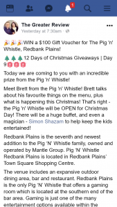 The Greater Review – Win a $100 Gift Voucher for The Pig 'n' Whistle (prize valued at $100)