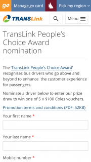 Translink – Win One of 5 X $100 Coles Vouchers (prize valued at $500)