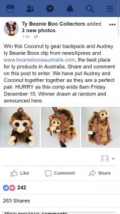 Ty beanie boo collectors – Win this Coconut Ty Gear Backpack and Audrey Ty Beanie Boos Clip From Newsxpress and Wwwbeanieboosaustraliacom