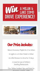Win a Milan and Lake Como Experience (prize valued at $10,000)